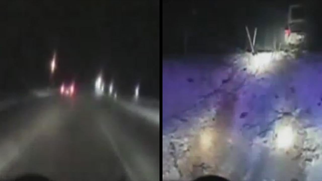 High-Speed Police Chase On Icy Roads Ends With A Spectacular Crash