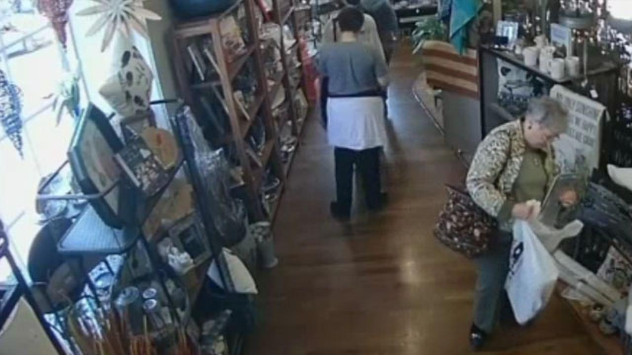 Times Are Hard! Old Lady Caught Stealing Valuable Items From Flower Shop