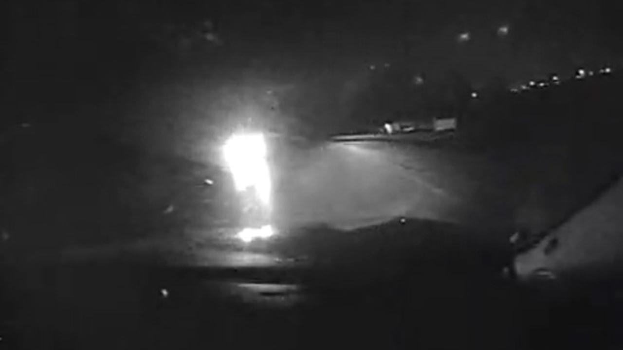 Scary Moment When Drunk Driver Hits Police Officer Head On