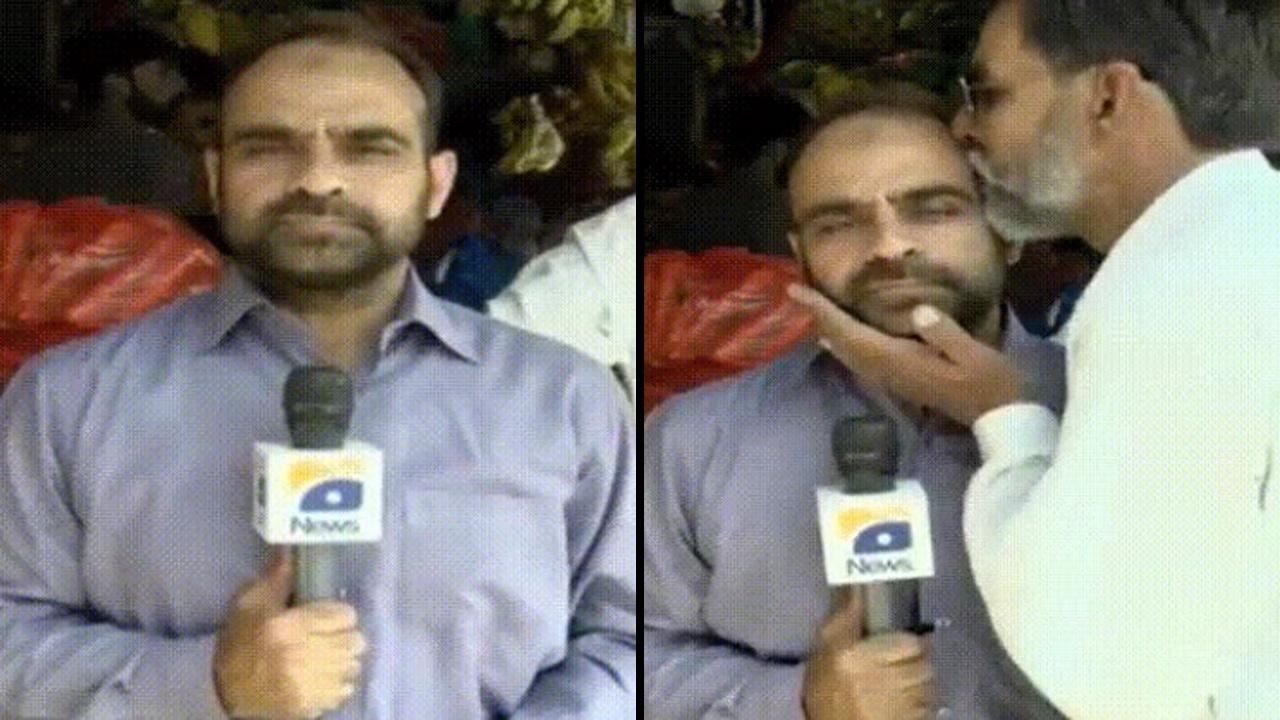 Reporter Can't Continue After Getting Kissed During Live Broadcast