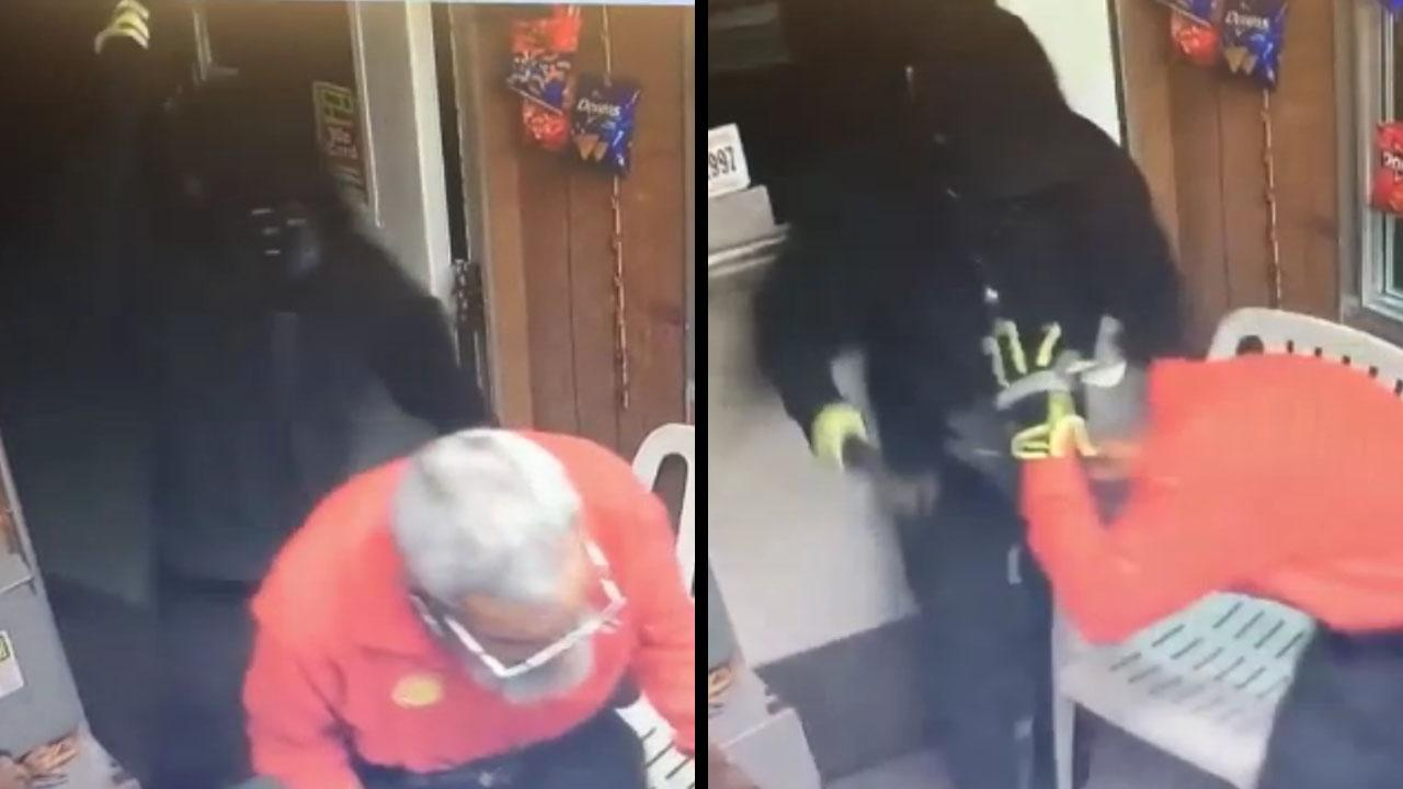 Brutal scene where robber attacks elderly gas station employee with a metal rod