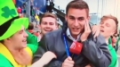 Hungarian Reporter On Live TV Gets Hilariously Mobbed By Irish Soccer Fans