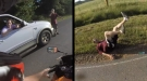 Hick Runs Motorcycle Off The Road, Learns It's A Bad Idea To Mess With Bikers