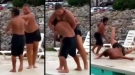 Big Bully Tries To Throw Little Kid Into Pool, Gets Butt Kicked