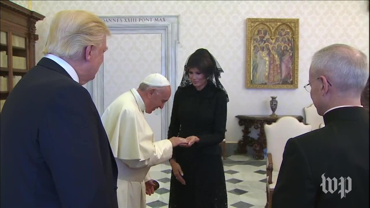 Pope Francis meets the Trump family