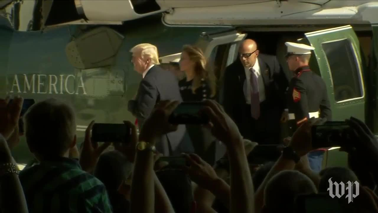 Trump makes splashy entrance during visit to U.S. military in Italy