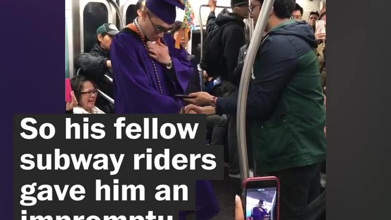 College student has subway graduation after being stuck on the train