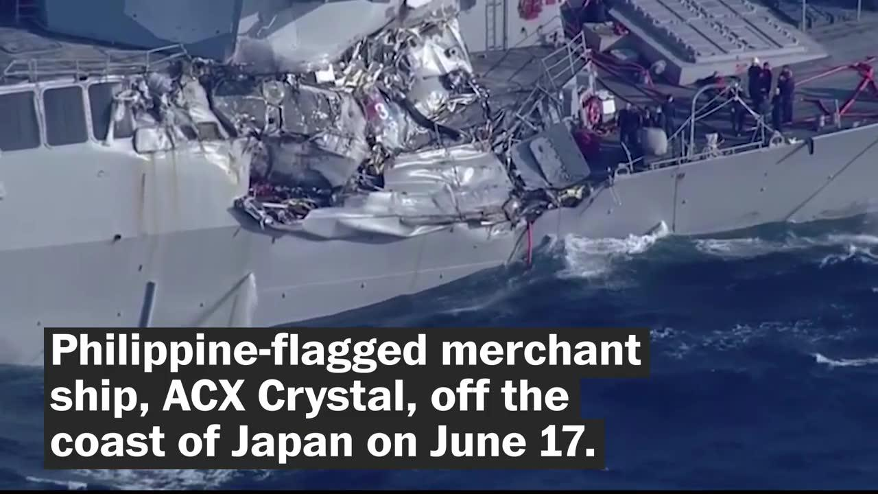 7 sailors missing after U.S. Navy destroyer collides with merchant ship
