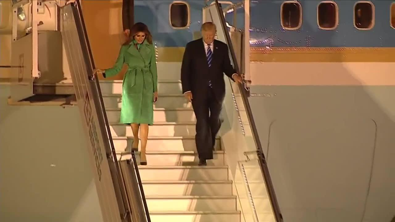 Trump arrives in poland