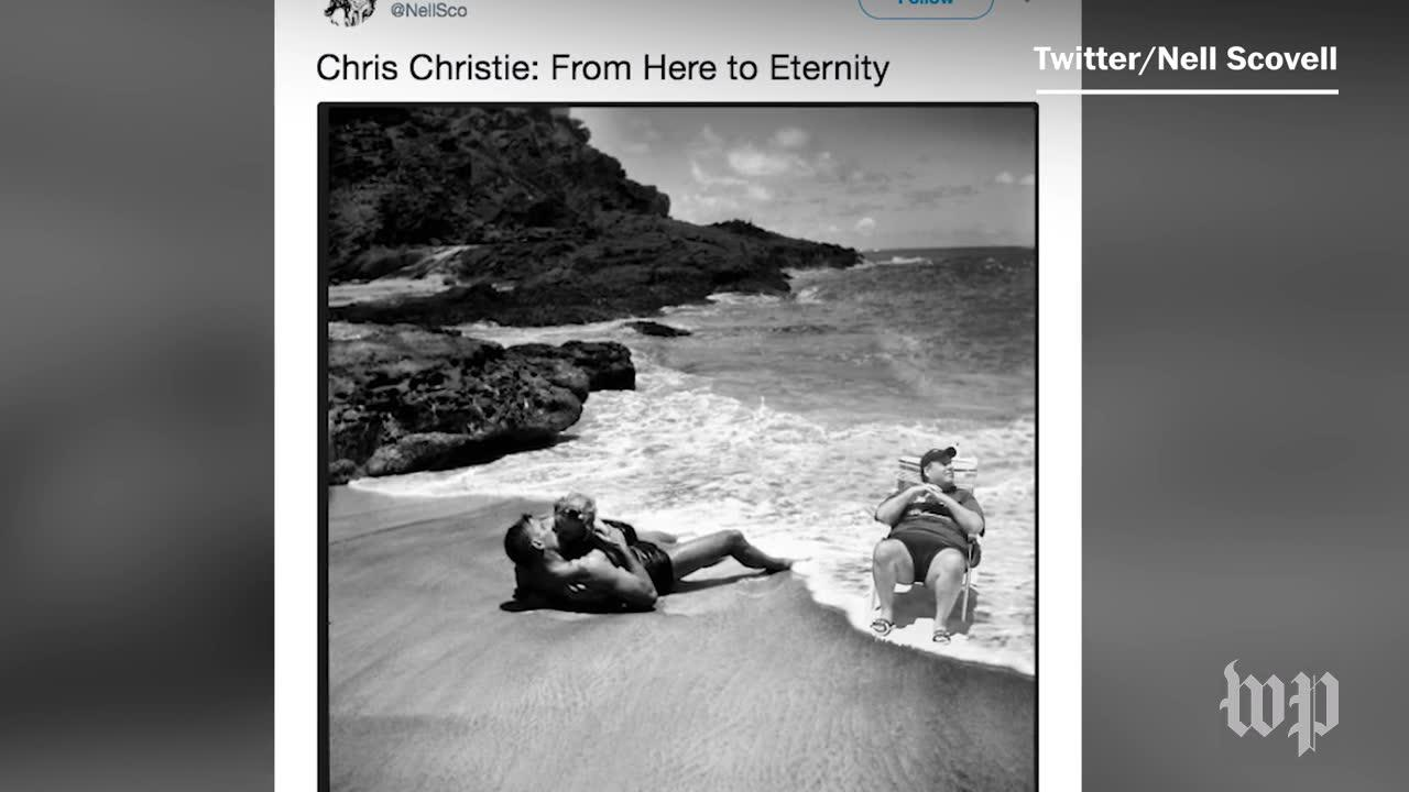Christie was caught at the beach. the internet placed him elsewhere.