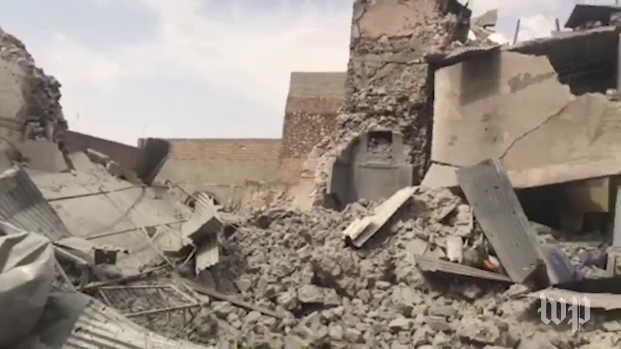 Scenes of destruction in mosul after isis counterattack