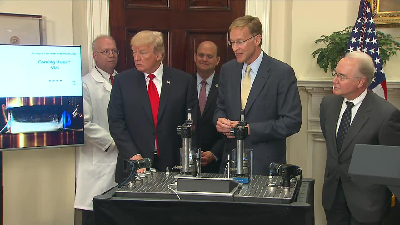 Trump Crushes Vial In Product Demonstration