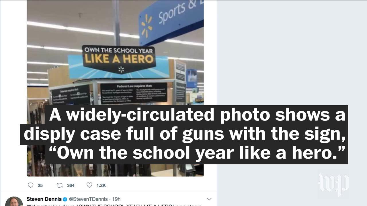 Walmart Criticized For Back-To-School Banner Placed Over Gun Display