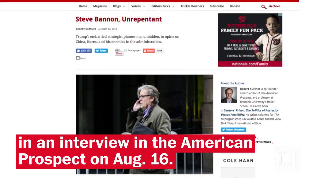 Stephen Bannon Is Out As White House Chief Strategist