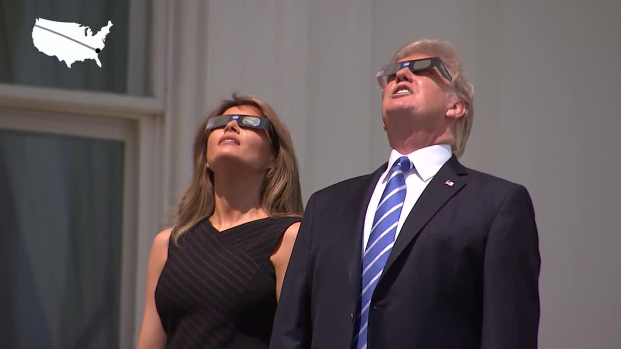 Trump Watches The Solar Eclipse