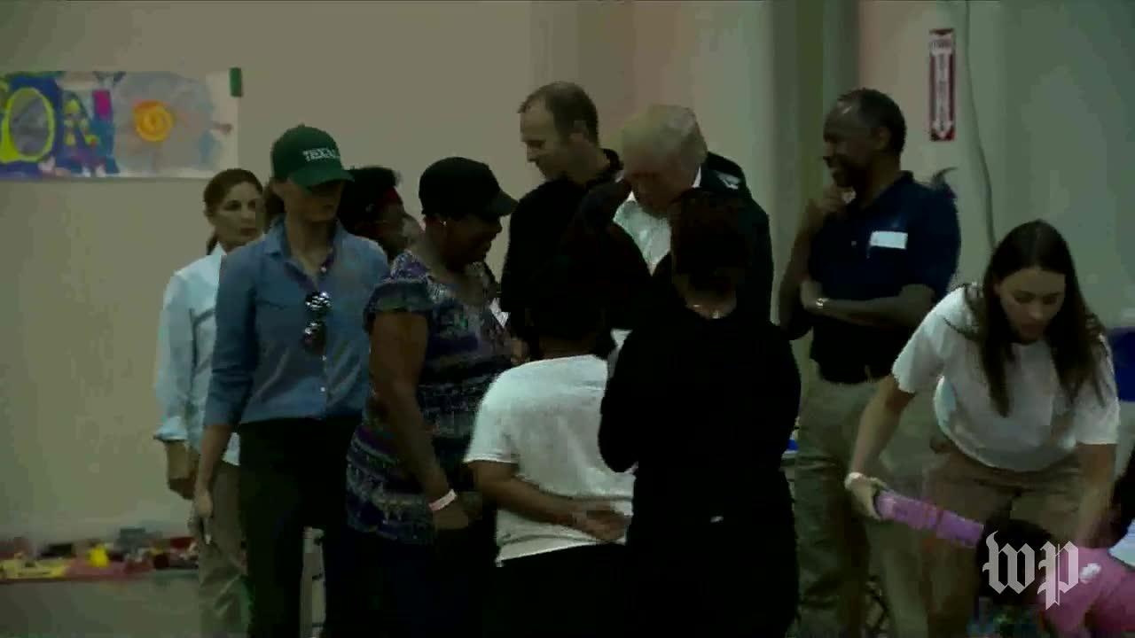 President Trump, First Lady Visit Families At Hurricane Harvey Shelter