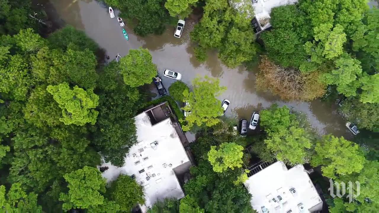 Drone Footage Shows West Houston Area Still Severely Flooded