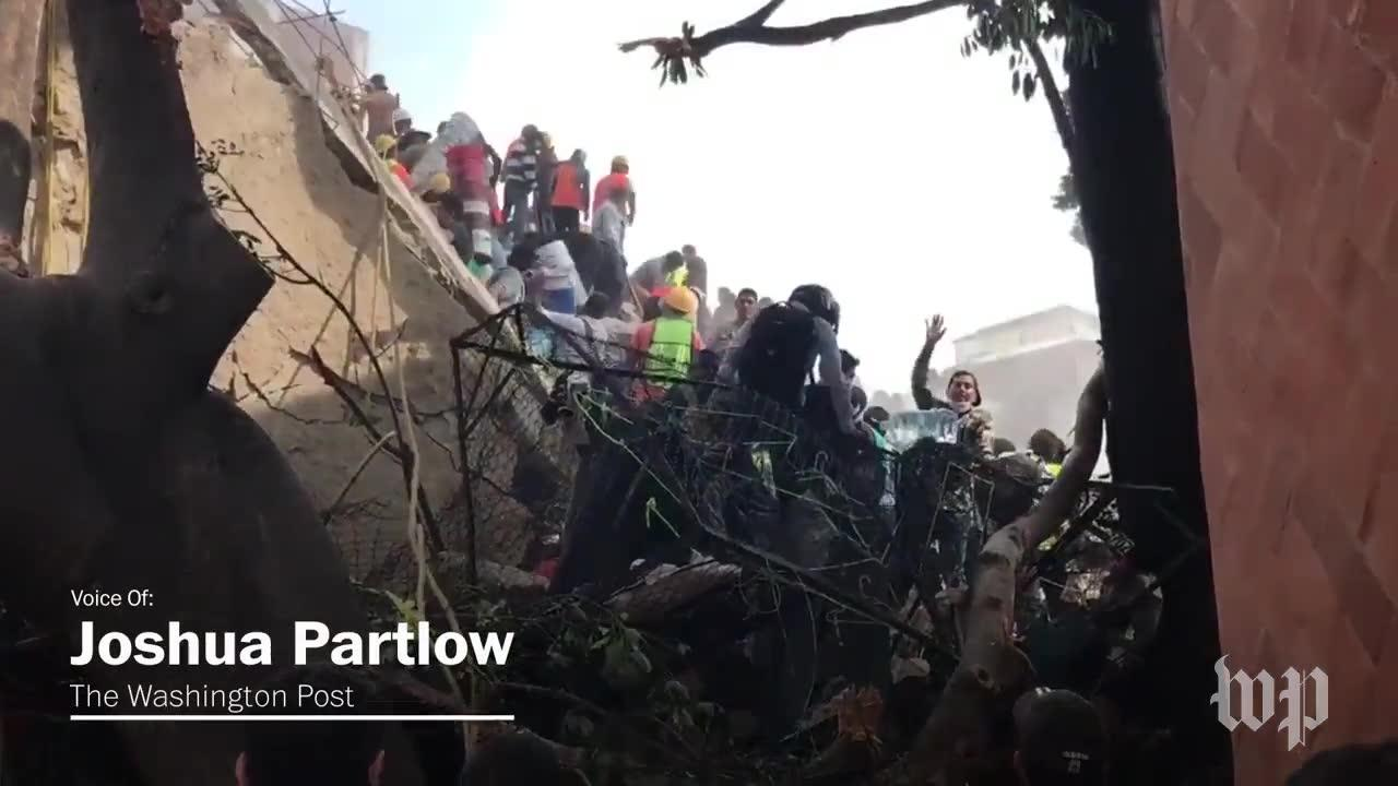 Volunteers Join Frantic Search For Survivors Of Mexico City Earthquake