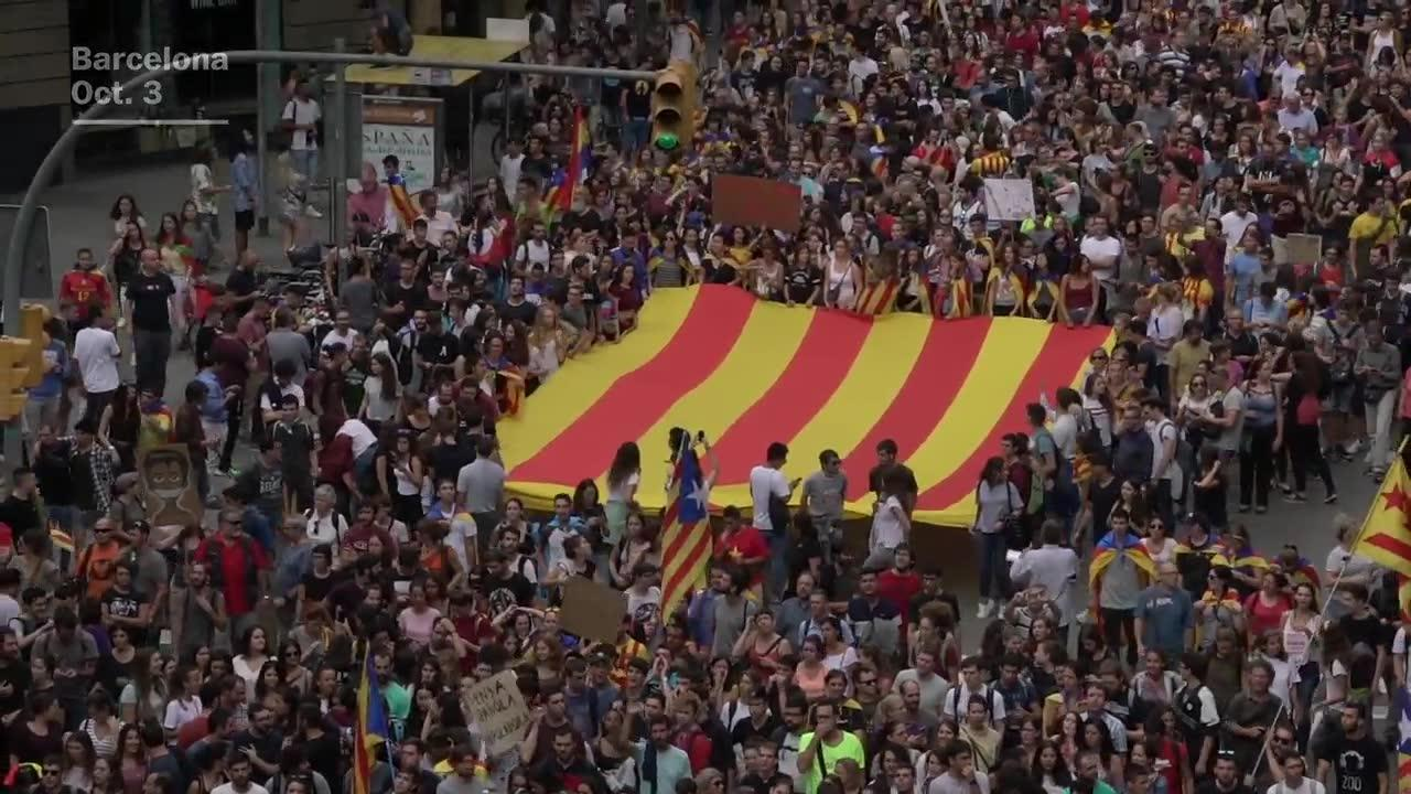 Crowds Take To Barcelona'S Streets To Protest Police Violence Duri_...