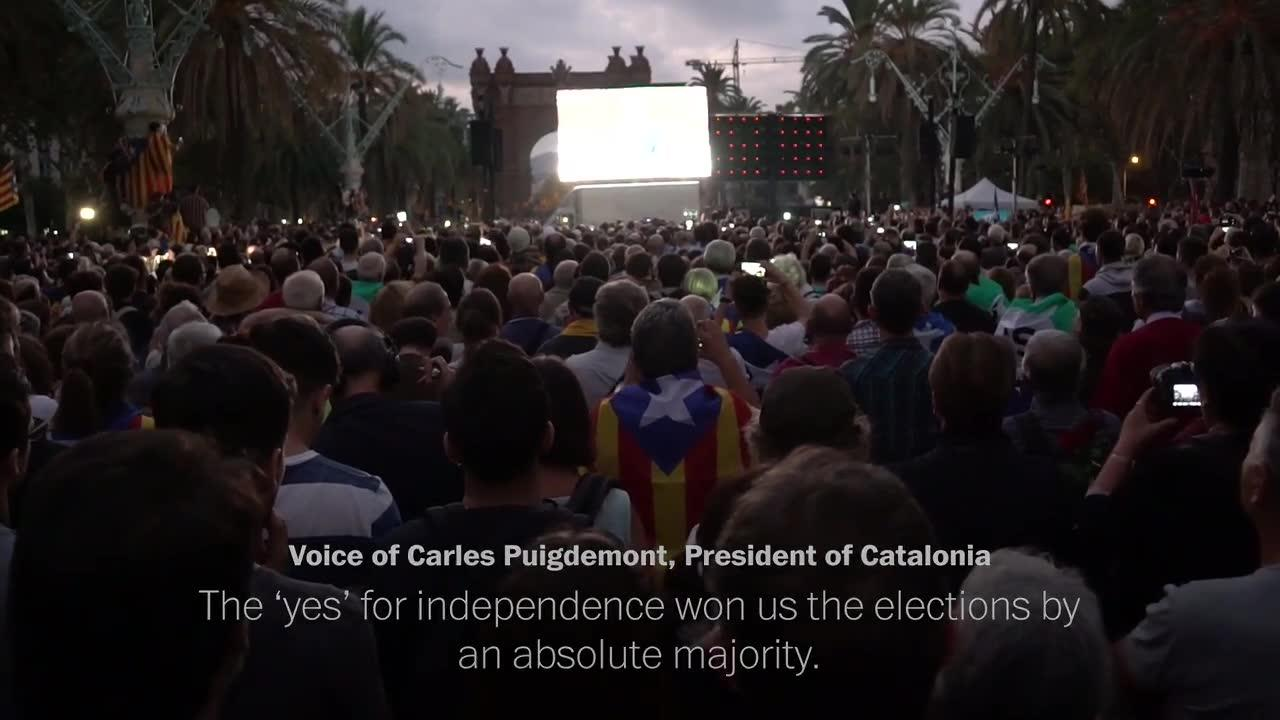 Catalonians React After Independence Not Declared
