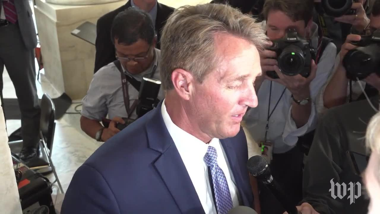 Flake Speaks To Reporters After Announcing Plan To Retire