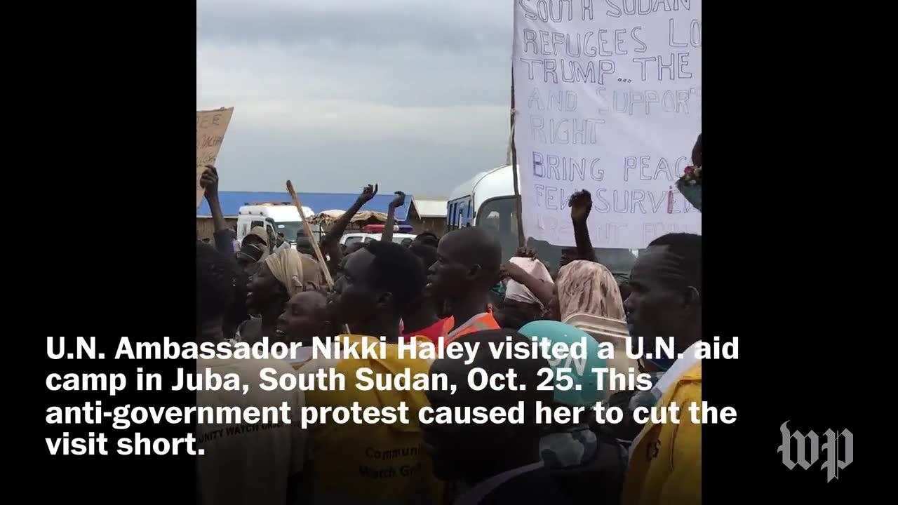 Nikki Haley Cuts Short Visit To U.N. Camp As Protests Break Out