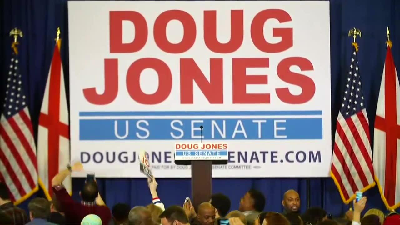 Jones Supporters Celebrate After Election Is Called